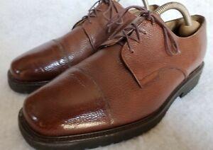 Bally Men Cognac Brown Pebble Grain Leather Cap Toe Derby - Size 8.5 D/US