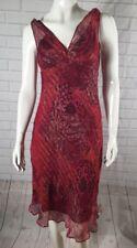 MUSE Women's 100% Silk Paisley Empire Waist Bias Cut Ruffle Strap Lined Dress 4