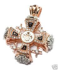 "Silver 925 Gold 18k Plated Jerusalem Cross Pendant Black Enamel Swarovski 1.9"""