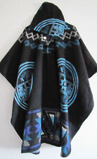 Llama Poncho Hood Wool Black Blue Coat Unisex Cape Indigenous Native - Ecuador