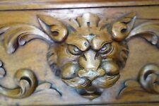 19C Carved English Oak Desk Six Gothic Gargoyles Bronze-Hinged Flip-top/Leather
