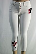 Guess Women's High Waisted Raw hem Jeans Bright White Regular Flowers Embroider