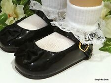 """MY TWINN Black Patent MARY JANE w// Satin Bow DOLL SHOES fits 23/"""" Poseable Doll"""