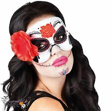 Ladies Halloween Mexican Day Of The Dead Festival Sugar Skull Eye Mask with Rose