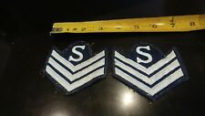 Brabb's Estate Pair Cloth Patches Marked S With 3 Downward Arrows Police Army ?