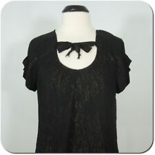 GAP Woman's Blouse Black Shimmer Gold. Neck Tie, Pleated Sleeves, size L