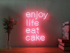 New Enjoy Life Eat Cake Neon Sign For Bedroom Wall Home Decor Art With Dimmer