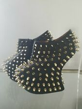 Black Leather Shadow Stud Shoes Jeffrey Campbell with gold studs worn once