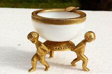 Ancien cendrier en opaline bulle de savon et bronze doré Chérubins ref 577