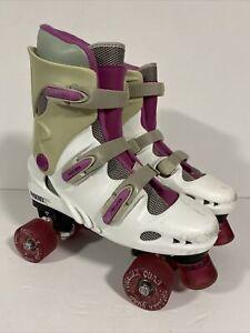 Women's Phoenix Quad Roller Skates Uk 6 White & Pink - Used Condition
