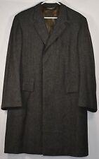 BROOKS BROTHERS Makers Sz 42 Charcoal Gray Wool Tweed Herringbone Over Coat