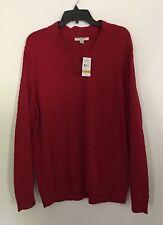 New Studio Works Womens Red Sweater Plus Sz 3X V NECK WHITE LONG SLEEVE