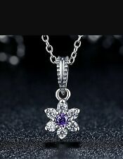 Forget Me Not Pendant Charm Genuine 925 Sterling Silver  Purple CZ Stone