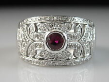 LeVian 18K Ruby Diamond Ring White Gold Wide Band Vintage Style Size 6.5