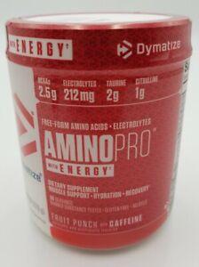 NEW- Dymatize Amino pro With Energy BCAA  Fruit Punch w Caffeine 9.52 oz.