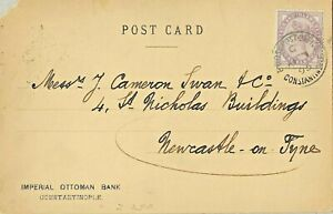GB Used Abroad in CONSTANTINOPLE British Levant C  1d. lilac on post card.