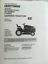 Owner's Manual Sears Craftsman 20 HP 6-Speed Lawn Tractor- Model 917.273030