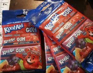 Kool aid, chewing gum, 4 pkgs of 4 packs,brand  new,16 single pkgs,3 flavors
