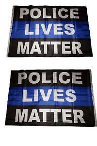 4x6 Police Lives Matter Thin Blue Line Double Sided 2ply Flag 4'x6' ft banner