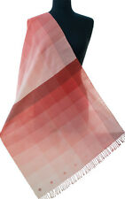 """Shades 0f Coral Pink Hand Woven Cotton Shawl Peach Ombre. 83"""" x 23"""" Light Scarf"""