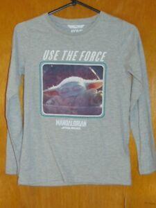 M&S Star Wars Top 'Mandalorian' Cotton Rich L/Sleeve 9-10y 140cm Grey Mix BNWT