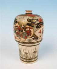 Antique Meiji Era KOZAN Satsuma Vase Japanese Earthenware Signed Pottery Figures