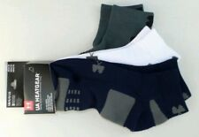 Under Armour Low Cut Socks 3 Pairs Pack Large Blue White Grey Heatgear Training