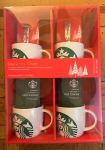Starbucks Porcelain Mugs Gift Set Of 4 14oz Mugs Coffee/ Cocoa Exp 01/19