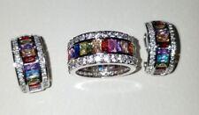 Ross Simons sterling silver multi colorful baguette eternity ring & earrings set