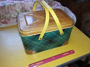 Vintage Picnic Tin, Yellow plastic handles, Green Plaid and Brown