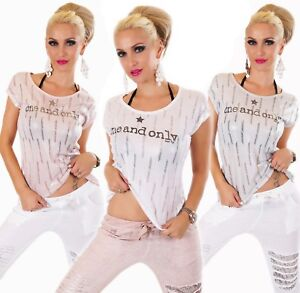 Italy Camiseta Top Mujer One Y Only Texto Brillo Blanco Rosa Gris 36 38