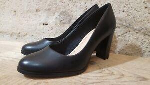 CLARKS Pointure 37 Superbes chaussures cuir noires escarpins femme talon