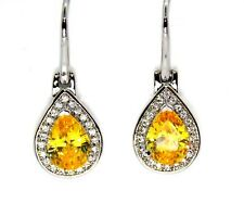 Silver Yellow Sapphire And Diamond 2.78ct Drop Earrings