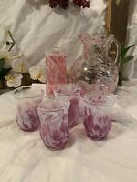 Murano Vtg Mid Century Pink Spatter & White Glass Hand Blown Italian Glass 6 pc.