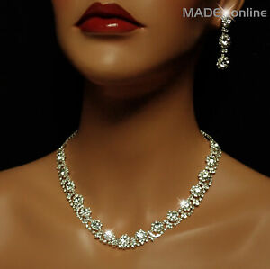 Set W, Necklace and Earring Set, Chunky Silver Plated Sparkle Bling