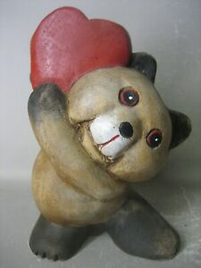 Vintage hand painted little bear woodcarving