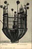 Nürnberg Bayern Postkarte ~1920/30 Der Dudelsackpfeifer Brunnen mit Statue Zaun