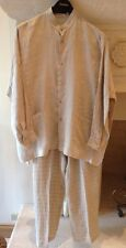 Eskandar Nubby Linen Taupe Top And Pant Outfit