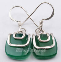 925 Sterling Silver CABOCHON GREEN ONYX LATEST STYLE DANGLING Earrings 1.1""
