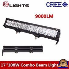 """108W 17"""" LED Light Bar For Offroad ATV Flood SPOT LAMP FOG Driving work lamp"""