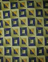 Ermenegildo Zegna Italian Silk Geometric Green Blue Tie