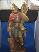 Hand Carved and colored Figurine Holy Florian w/Certificate made in Italy Tirol