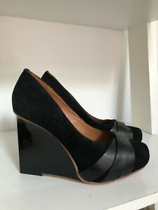 & Other Stories Black Suede Leather Wedges, Designer Shoes Size 5