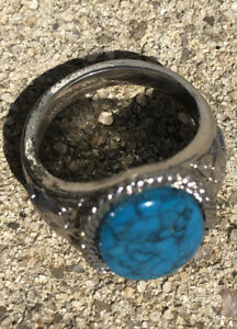 Oval Ring Turquoise 18KT White Gold Ring - Vintage