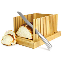 Bamboo Bread Slicer | Loaf Cutting Guide Board | Adjustable & Foldable | M&W