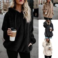 Women Hooded Sweatshirt Overcoat Winter Warm Wool Zipper Pockets Coat Outwear