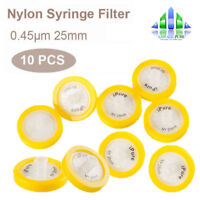 10pcs Nylon Membrane Syringe Filter 0.45μm Micron 25mm Diameter PP Prefilter Lab