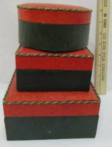 Decorative Boxes Red Leather Look Lid Cord Trim Green Base Functional Lot of 3