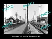 OLD LARGE HISTORIC PHOTO OF WANTAGH NEW YORK THE RAILROAD DEPOT STATION c1960