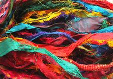 500gms. Himalaya Recycled PURE SARI SILK RIBBON Yarn Knit Crochet 5 Skein